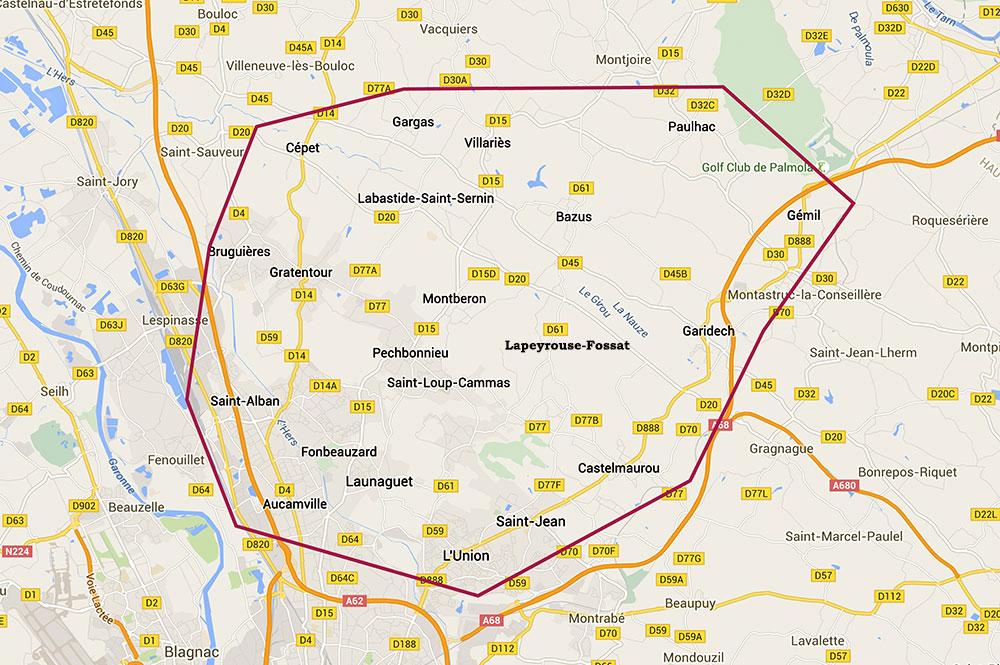 Mappy carte de la zone routière et ville et village coiffeur lapeyrouse-fossat